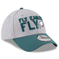 the fly eagles fly philadelphia eagles flexfit cap has a gray structured crown and a bent midnight green brim