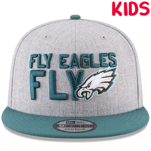 c48467907a7 on the front of the Philadelphia Eagles on-stage 2018 NFL Draft snapback hat  is