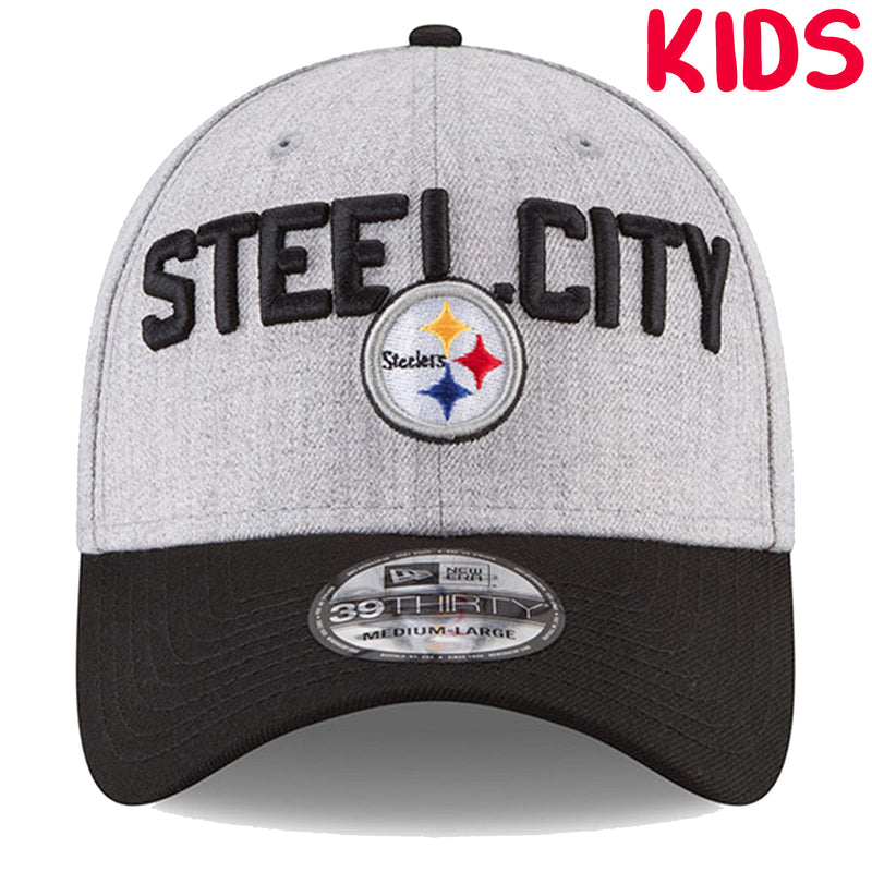 on the front of the pittsburgh steelers 2018 nfl draft stretch fit 39thirty cap is the pittsburgh steelers logo embroidered below the words steel city which are embroidered in black