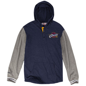 the cleveland cavaliers mitchell and ness mid season pullover hoodie is navy blue and heather grey with the cavs logo embroidered on the left chest