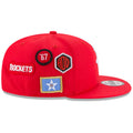 on the wearer's right side of the 2018 nba draft on court houston rockets snapback hat are four patches that feature the houston rockets