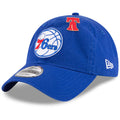 on the front eyelet of the philadelphia 76ers 2018 nba draft 9twenty dad hat is a red liberty bell pin