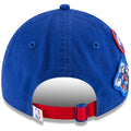 the back of the 2018 nba draft philadelphia 76ers 9twenty dad hat is a red adjustable strap with a blue buckle