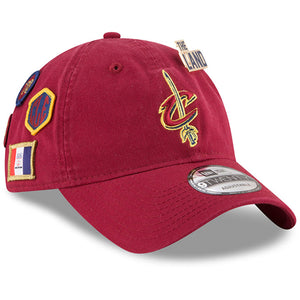 on the front of the cleveland cavaliers maroon adjustable dad hat is the cleveland cavaliers logo embroidered in maroon and yellow