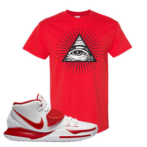 Kyrie 6 White University Red T Shirt | All Seeing Eye, Red