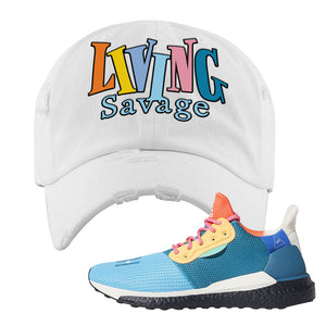 Foot Clan  Pharrel Williams X SolarHU Multicolor  Living Savage  White  Distressed Dad Hat    Rock your favorite pair of kicks in style with this Pharrel Williams X SolarHU Multicolor Sneaker White Distressed Dad Hat. The Living Savage logo on the front of this Pharrel Williams X SolarHU Multicolor Sneaker White Distressed Dad Hat is what your sneaker matching outfit has been missing. Match your shoes today!