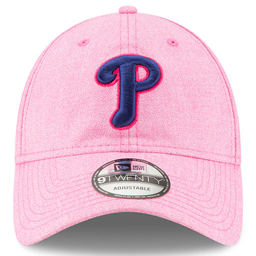 on the front of the 2018 philadelphia phillies mother's day dad hat is the philadelphia phillies logo embroidered in navy blue with a hot pink outline