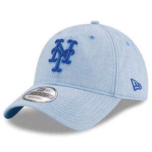 on the front of the new york mets father's day dad hat is the new york mets logo embroidered in blue