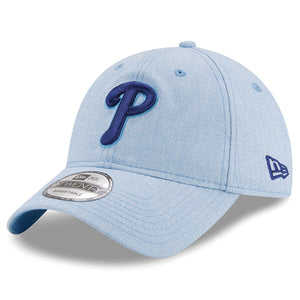 on the front of the youth sized philadelphia phillies father's day on-field dad hat is the phillies logo embroidered in blue