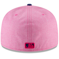 on the back of the 2018 mother's day 5950 philadelphia phillies fitted cap is the mlb logo embroidered in hot pink and navy blue