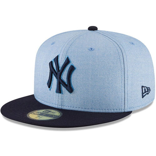 on the front of the new york yankees father's day on-field fitted cap is the new york yankees logo embroidered in navy blue