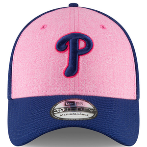 On the front of the philadelphia phillies 2018 mother's day 39thirty hat is a phillies logo embroidered in navy blue and hot pink