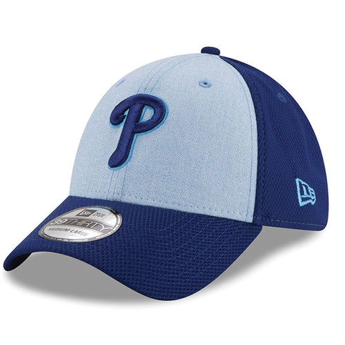 On the front of the philadelphia phillies stretch fit hat for 2018 father's day is the philadelphia phillies logo embroidered in dark blue