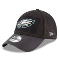 the left side of the philadelphia eagles super bowl champions hat is the new era logo embroidered in white