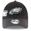 the front of the philadelphia eagles super bowl champions 9forty dad hat is the Eagles logo embroidered in silver, black, white and Eagles green