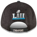 on the back of the Philadelphia Eagles Super Bowl Champions 9Forty hat is the Super Bowl LII logo applied in liquid chrome above a velcro strap that says champions