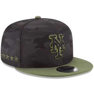the right side of the youth new york mets 2018 memorial day on-field snapback hat has 5 stars embroidered in military green