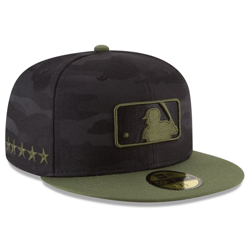 on the right side of the 2018 memorial day mlb umpire on-field fitted cap are 5 stars embroidered in military green