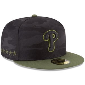 on the right side of the philadelphia phillies 2018 memorial day fitted cap are 5 stars embroidered in military green