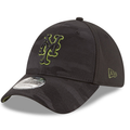 the left side of the youth new york mets 2018 memorial day stretch fit cap features the new era logo embroidered in military green