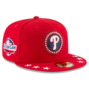 the right side of the 2018 mlb all star game philadelphia phillies on-field fitted cap features the philadelphi phillies logo embroidered in navy blue, white, and red