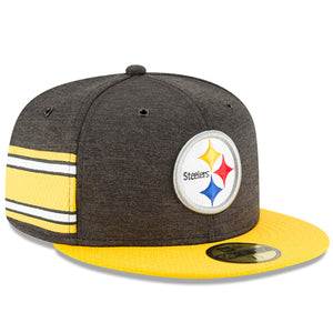 Embroidered on the front of the Pittsburgh Steelers 2018 On-Field Sideline 59Fifty Fitted Cap is the Pittsburgh Steelers logo embroidered in white, black, yellow, red, and blue. The wearer's right side of the Pittsburgh Steelers 2018 On-Field Sideline Fitted Cap has team-colored stripes on the right panel that correspond with the Pittsburgh Steelers jersey colors.