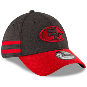 embroidered on the front of the home san francisco 49ers 2018 on-field sideline stretch fit cap is the san francisco forty-niners logo embroidered in black and red. The side of the san francisco 49ers 2018 on-field sideline stretch fit cap has 2 red stripes embroidered.