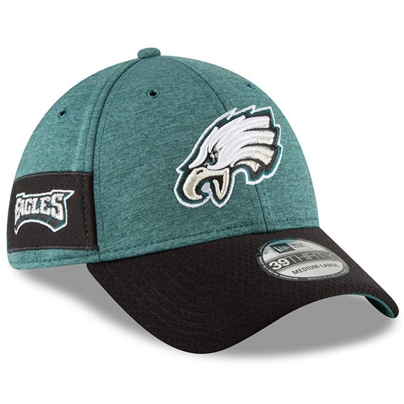 on the wearer's right side of the philadelphia eagles 2018 on field sideline stretch fit 39thirty cap is the eagles wordmark embroidered in midnight green, white, and black
