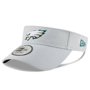 on the front of the philadelphia eagles gray adjustable 2018 nfl training camp visor is the philadelphia eagles logo embroidered in the Eagles' colorway