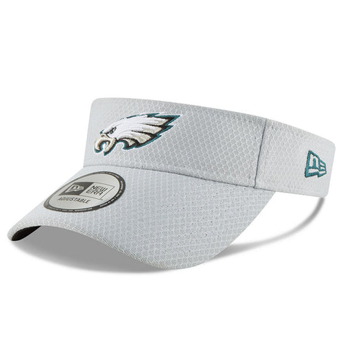 abaa63d0a9b on the front of the philadelphia eagles gray adjustable 2018 nfl training  camp visor is the