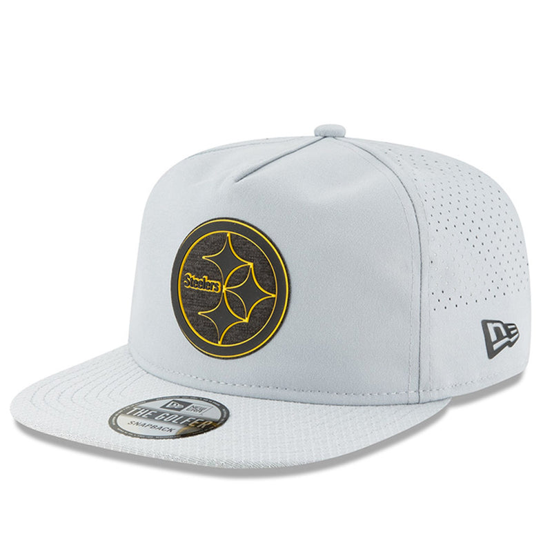 on the front of the pittsburgh steelers 2018 training camp gray golfer snapback hat is the steelers logo in black and yellow