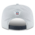 on the back of the new england patriots nfl 2018 training camp golfer snapback hat has a navy blue adjustable snap