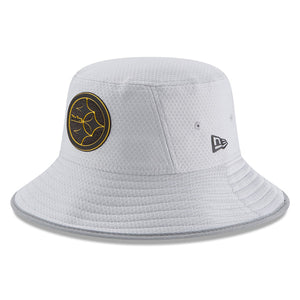on the front of the pittsburgh steelers gray 2018 training camp bucket hat is the pittsburgh steelers logo in black and yellow