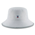 on the back of the miami dolphins on field training camp bucket hat is the nfl equipment logo