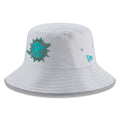 on the front of the miami dolphins 2018 on fiel training camp dad hat is the miami dolphins logo in teal and miami
