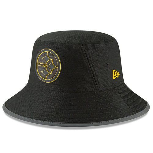 on the front of the pittsburgh steelers 2018 training camp on field bucket  hat is the 9a3731a92bb0