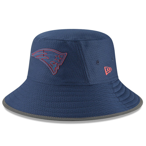 the front of the new england patriots 2018 training camp bucket hat features the patriots logo in navy blue and red