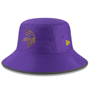 the front of the Minnesota vikings 2018 training camp bucket hat is the minnesota vikings logo in purple and yellow