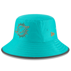 on the front of the miami dolphins 2018 nfl training camp teal bucket hat is the miami dolphins logo in teal and orange
