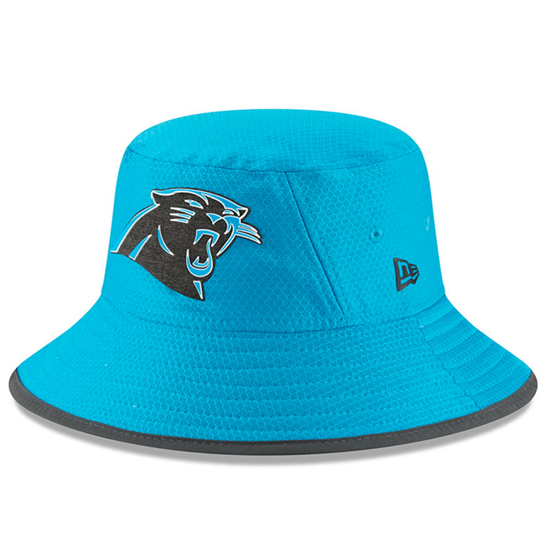 on the front of the carolina panthers blue 2018 training camp bucket hat is the carolina panthers logo embroidered in black, white, and blue