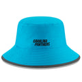 embroidered on the back of the carolina panthers 2018 training camp bucket hat is the carolina panthers logo embroidered in black