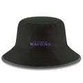 on the back of the baltimotre ravens black 2018 training camp bucket hat is the baltimore ravens word mark embroidered in purple