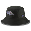 on the front of the 2018 training camp black bucket hat is the baltimore ravens logo in purple and black