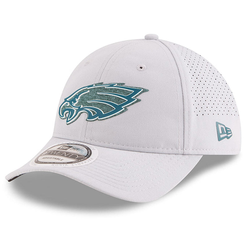 on the front of the training camp 2018 nfl on field gray 9twenty dad hat is the philadelphia eagles logo in midnight green
