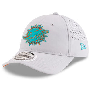 on the front of the 2018 miami dolphins training camp dad hat is the miami dolphins logo in teal and orange
