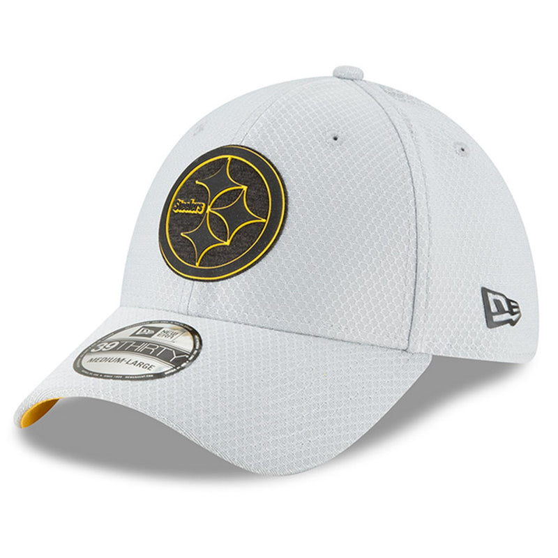 on the front of the pittsburgh steelers 2018 training camp gray stretch fit cap is the pittsburgh steelers logo in black and yellow