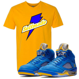This blue and yellow t-shirt will match great with your Jordan 5 Alternate Laney JSP shoes