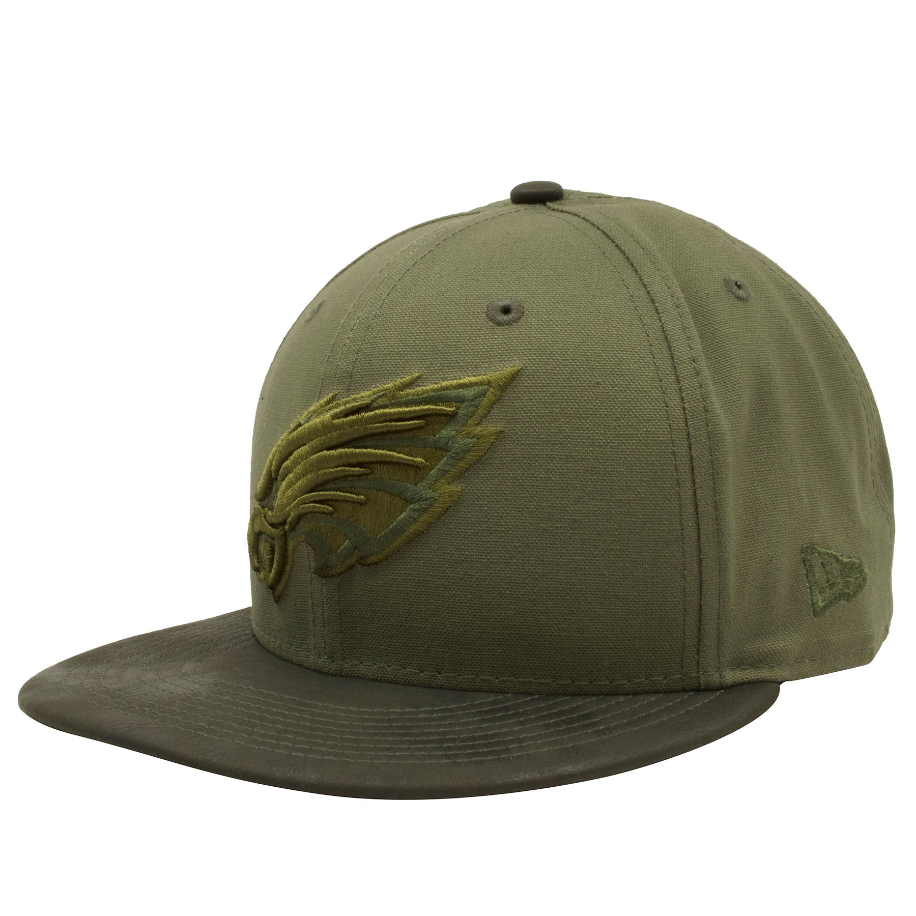 24d5531874a ... Embroidered on the left side of the Philadelphia Eagles green tonal snapback  hat is the New ...