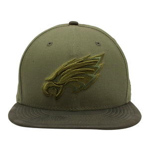 Embroidered on the front of the Philadelphia Eagles tonal green snapback hat is the Eagles tonal green logo