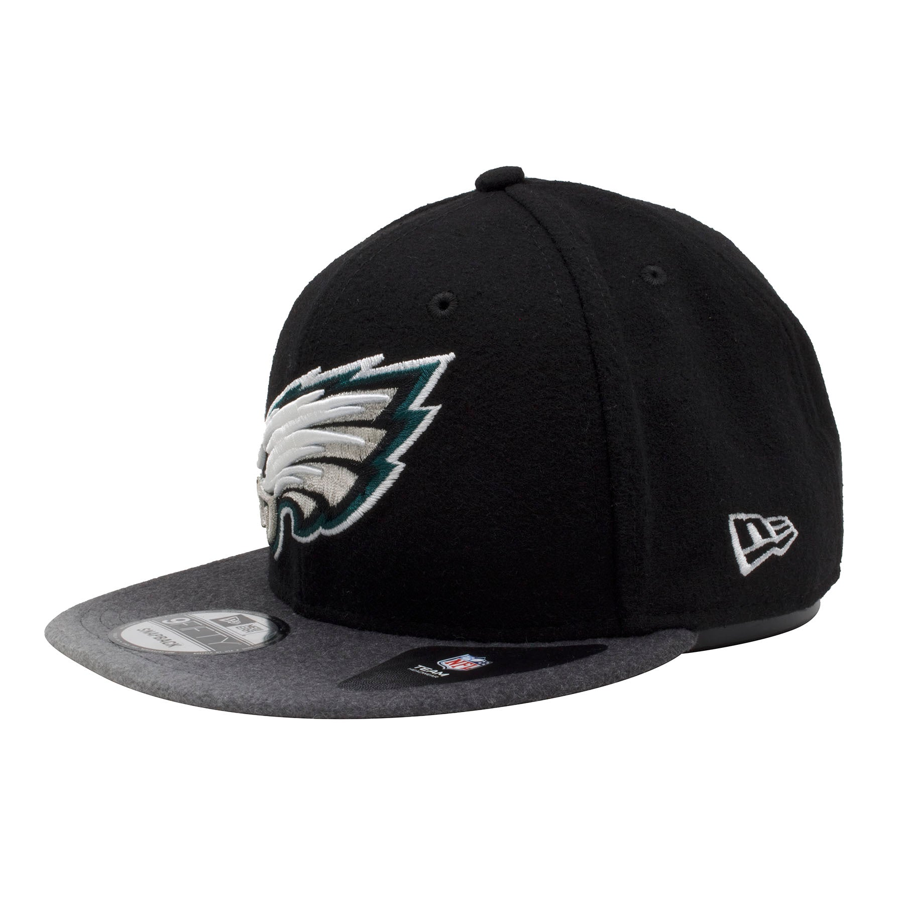 fb1cfec4cef ... the left side of the philadelphia eagles snapback hat has the new era  logo embroidered in ...